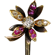 Antique Victorian 18K Gold Austro Hungarian Diamond & Ruby Flower Stick Pin