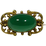 Antique Art Nouveau 10K Gold Chrysoprase Brooch Pin