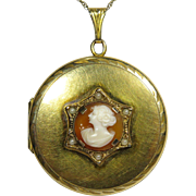 Antique Art Deco Rolled Gold Shell Cameo Photo Locket Pendant