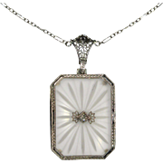 Antique Art Deco 14K White Gold Camphor Glass & Diamond Pendant Necklace