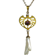 Antique Edwardian 10K Gold Seed Pearl Lavaliere Pendant