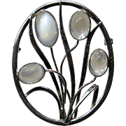 Vintage Arts & Crafts/Retro Era Danish Sterling Silver Hans Saugmann Bjerregaard Moonstone Brooch