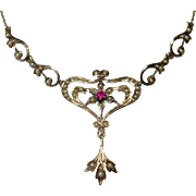 Antique Victorian 14K Gold Seed Pearl & Ruby Lavaliere Necklace