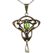 Antique Art Nouveau Large English 9CT Gold Peridot Lavaliere Pendant