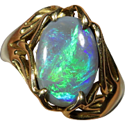 Vintage Retro 14K Gold Natural Black Opal Freeform Ring