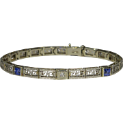 Antique Art Deco 14K White Gold Sapphire & Diamond Line Bracelet