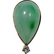 Antique Edwardian 14K Gold Jadeite/Jade & Diamond Stick Pin