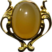 Antique Edwardian 10K Gold Milky Agate Stick Pin