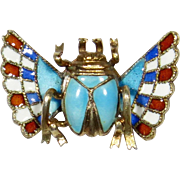 Antique Victorian 800 Silver Enamel Winged Scarab Stick Pin
