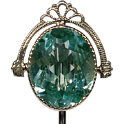 Vintage Art Deco 10K White Gold Blue-Green Spinel Stick Pin
