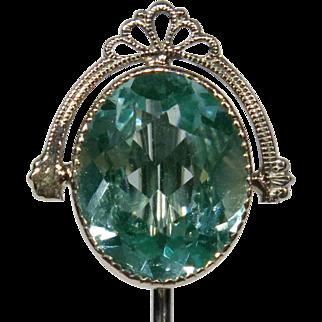 Vintage Art Deco 10K White Gold Blue-Green Spinel Stick Pin