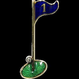 Vintage 18K Gold Golfer's Hole In One Enamel & Diamond Lapel/Tie Pin