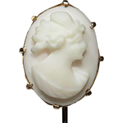Antique Edwardian 10K Gold Psyche Shell Cameo Stick Pin