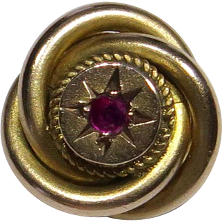 Antique Victorian 9CT 9K Gold Ruby Love Knot/Lover's Knot Stick Pin