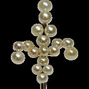 Antique Victorian 14K Gold Seed Pearl Fleur De Lis/Lys Stick Pin