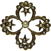 Antique Victorian 14K Gold Honeymoon Moon & Star Quatrefoil Seed Pearl Brooch