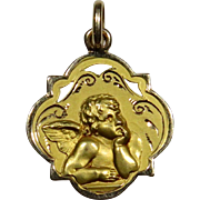 Gorgeous Vintage 14K Gold Raphael Cherub Necklace Pendant
