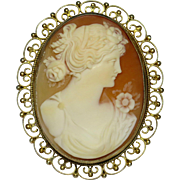 Antique Victorian 800 Silver Vermeil Filigree Shell Cameo Flora Brooch