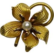 Antique Art Nouveau 10K Gold Seed Pearl Flower Stick Pin