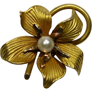 Antique Art Nouveau 10K Gold Seed Pearl Flower Stick Pin