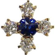 Antique Victorian 14K Gold Diamond & Sapphire Stick Pin