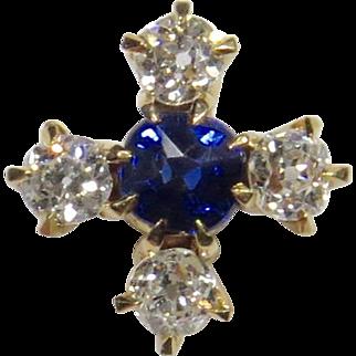 Antique Victorian 14K Gold Diamond & Sapphire Stick Pin