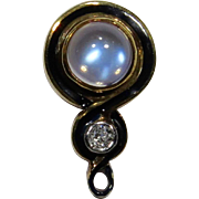 Antique Art Nouveau 14K Gold Moonstone, Enamel & Diamond Stick Pin