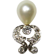 Antique Edwardian Belle Epoque 14K Gold Platinum Diamond & Pearl Stick Pin