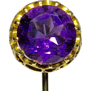 Antique Victorian 15CT 12CT Yellow Gold Large Amethyst Stick Pin