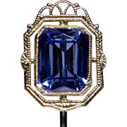 Antique Art Deco 10K Gold Sapphire Filigree Stick Pin
