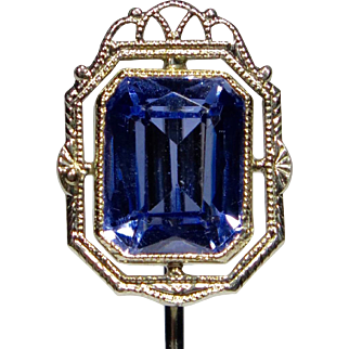 Antique Art Deco 10K Gold Sapphire Filigree Stick Pin