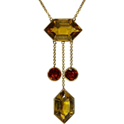 Antique Art Deco 14K Gold Citrine Negligee Dropper Pendant Necklace