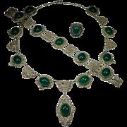 Antique Victorian 800 Silver Filigree Chrysoprase Necklace, Bracelet & Ring Set/Parure