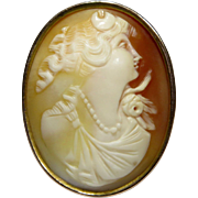 Antique Edwardian 10K Gold Shell Cameo of Diana Brooch