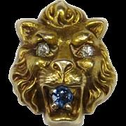 Antique Art Nouveau Gold Diamond & Sapphire Lion's Head Stick Pin