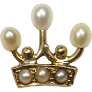 Antique Edwardian 14K Gold Seed Pearl Crown Stick Pin