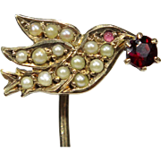 Antique Victorian 10K Gold Seed Pearl & Garnet Dove/Swallow Bird Stick Pin