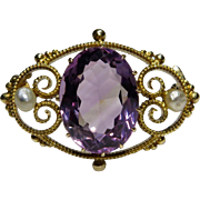 Antique Edwardian 14K Gold Amethyst & Seed Pearl Brooch
