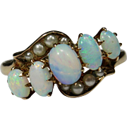 Antique Victorian 10K Gold 5 Stone Opal & Seed Pearl Ring