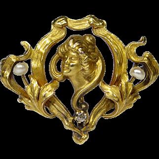 Antique Art Nouveau 10K Gold Seed Pearl & Diamond Gibson Girl Watch Pin/Brooch