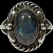 Vintage Sterling Silver 925 Georg Jensen Denmark Labradorite No. 1 Ring