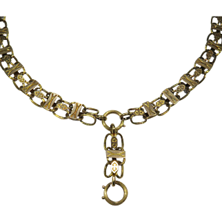 Antique Victorian 14K Gold Bookchain Book Chain Necklace - Complete!
