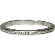 Vintage 30's Art Deco Platinum 20 Diamond Wedding Band Stacking Semi-Eternity Ring