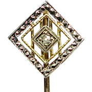 Antique Art Deco 14K White & Yellow Gold Diamond Stick Pin