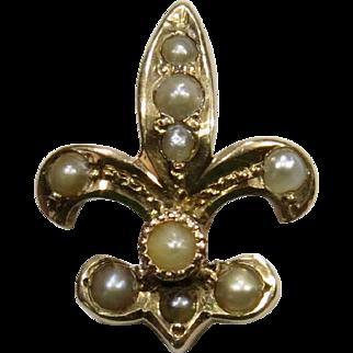 Antique Edwardian 14K Gold Seed Pearl Fleur De Lis Stick Pin