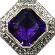 Antique Edwardian 14K Gold & Platinum Amethyst Stick Pin