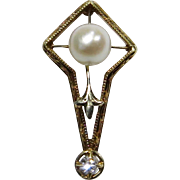 Antique Early Art Deco 14K Gold Pearl & Diamond Stick Pin