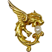 Antique Art Nouveau 14K Gold Griffin Lion Seed Pearl Stick Pin