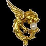 Antique Art Nouveau 14K Gold Griffin Lion Seed Pearl Stick Pin