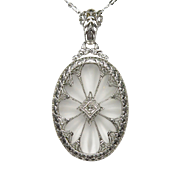 Antique Art Deco Rhodium Plated Sterling Silver Camphor Glass Diamond Necklace Pendant